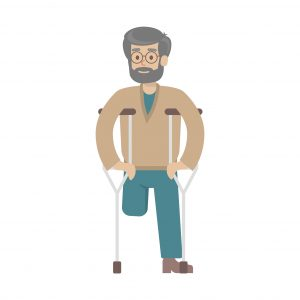 Isolated disabled man on white background. One-legged old man with crutches.